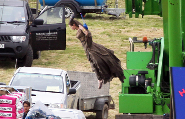 Angelina Jolie Takes Flight On Set!