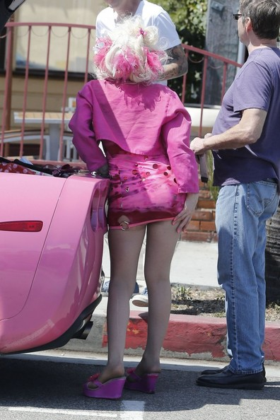 Angelyne Poses With Fans In West Hollywood Zimbio