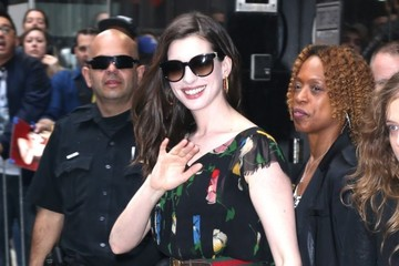 Anne Hathaway Celebrites On 'Good Morning America' In NYC