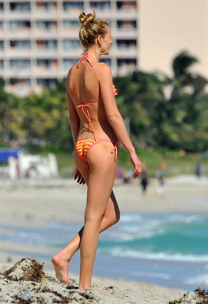 Anne Vyalitsyna In A Tiny Orange Bikini On Miami Beach