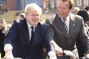 Arnold Schwarzenegger and the London Mayor, Boris Johnson, attend a bike riding photocall in London. The pair were cycling on the new Barclays Cycle Hire bikes.