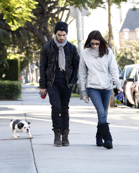 Ashley Greene - Ashley Greene & Joe Jonas Walking Their Dogs In Hollywood