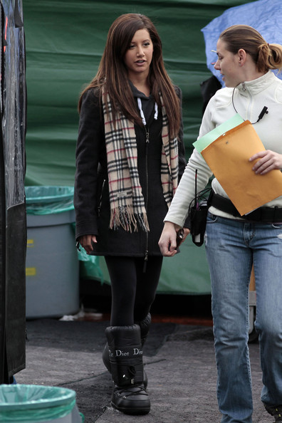 Actress Ashley Tisdale rockin' some Dior boots on the set of 'Hellcats' in Vancouver, Canada. They were filming an indoor wedding scene at the Vancouver Rowing Club.