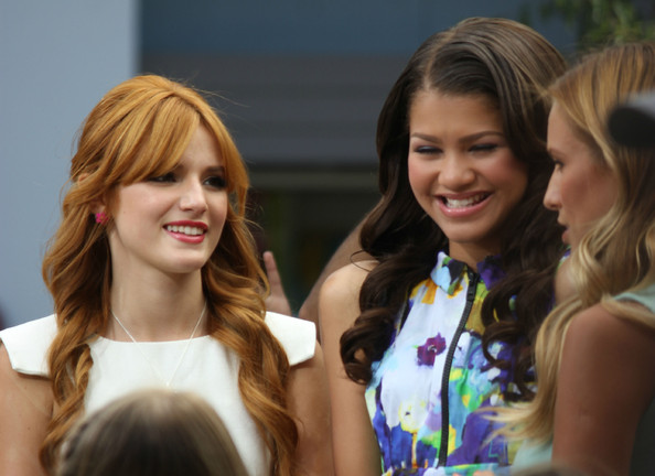 Disney actresses Bella Thorne and Zendaya of the Shake It Up! TV series attended an interview at the Grove in Los Angeles, California on July 10, 2012 for the Extra.