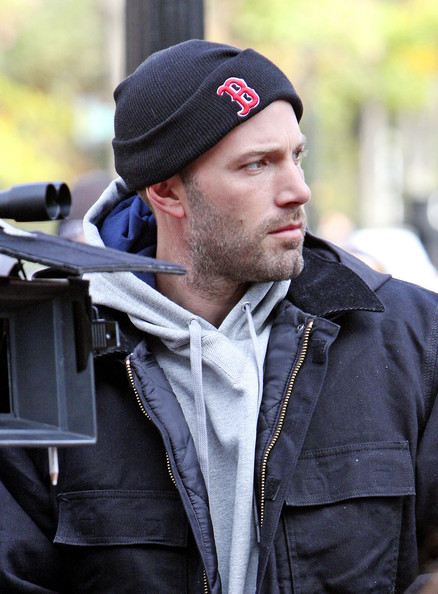 Ben Affleck Ben Affleck is seen filming 'The Town' in Harvard Square in Cambridge, MA. He was showing his Red Sox pride while directing the scenes behind the camera.