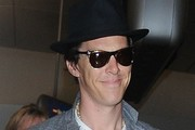 Benedict Cumberbatch Arrives on a Flight at LAX