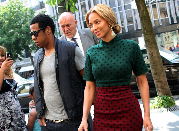Beyonce Knowles and Jay-Z arriving at the Hotel Fouquet's Barriere in Paris, France.