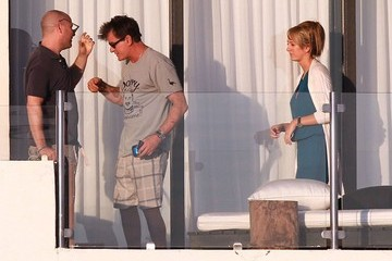 Brett Rossi Charlie Sheen Partying On His Balcony In Cabo