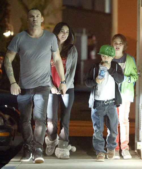 Brian Austin Green Exclusive... Megan Fox and Brian Austin Green take his son Kassius out to eat at Koo Koo Roo in Los Angeles, California on March 22, 2012