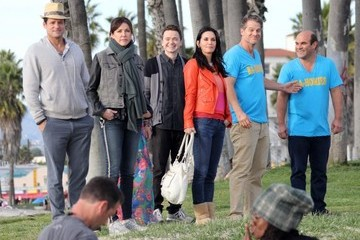 "Brian Van Holt Cast of ""Cougar Town"" Films in Malibu"
