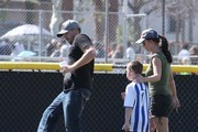 Singer Britney Spears, her boyfriend David Lucado, her ex-husband Kevin Federline and his wife Victoria Prince watching their sons Sean and Jayden play soccer in Calabasas, California on March 9, 2014.