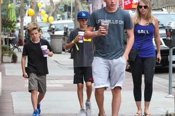 Brooklyn Beckham David Beckham Goes to Soul Cycle with His Boys