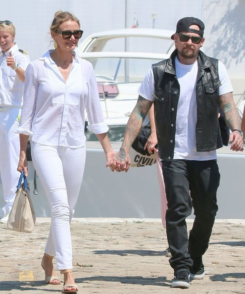 Cameron Diaz & Benji Madden Stepping Off Their Yacht In France []