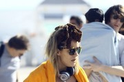Caroline Flack and Lou Teasdale spend a day at the beach with family and friends in Miami, Florida on December 28, 2015.