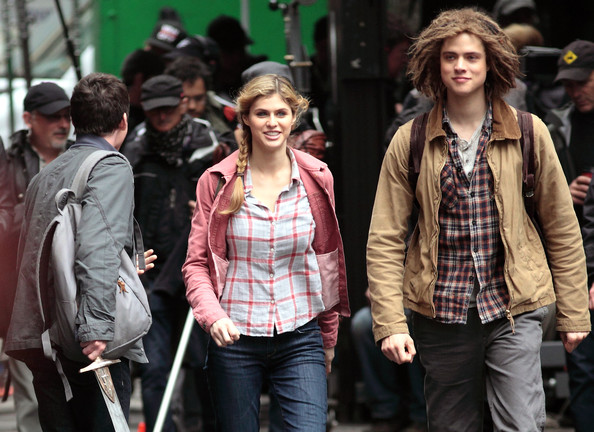 "The cast of ""Percy Jackson: Sea of Monsters"" film scenes in Vancouver, Canada on May 28th, 2012. The scenes they were shooting involved Brandon T Jackson continuously being dragged down an alley, leaving Alexandra Daddario and Logan Lerman having to save him from the nasty men."