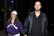 Celebrities arrive at Staples Center to watch the Lakers take on the Dallas Mavericks on January 16, 2012 in Los Angeles, CA.