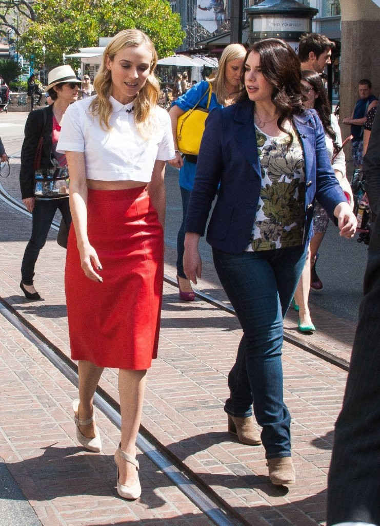 Celebrities stop by The Grove to do an interview for the show EXTRA in Los Angeles, California on March 15, 2013.<br /> Pictured: Diane Kruger, Stephenie Meyer