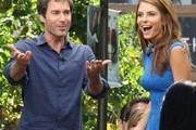 Celebrities drop by The Grove to film an interview with 'Extra' on June 10, 2013.Pictured: Eric McCormack, Maria Menounos