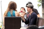 Celebrities at Universal Studios to do an interview for the show EXTRA in Universal City, California on April 23, 2014.<br /> Pictured: Ian Somerhalder, Katherine Webb