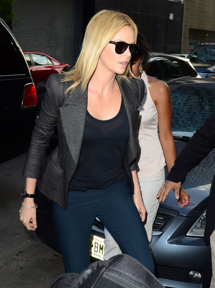 Charlize Theron's blazer was slightly cinched at the waist for a flattering hourglass fit.
