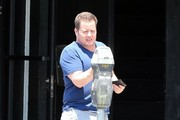 Reality star Chaz Bono feeds a meter outside an acting class in Hollywood, California on July 31, 2014. Chaz has been slimming down in hopes of getting an acting gig.