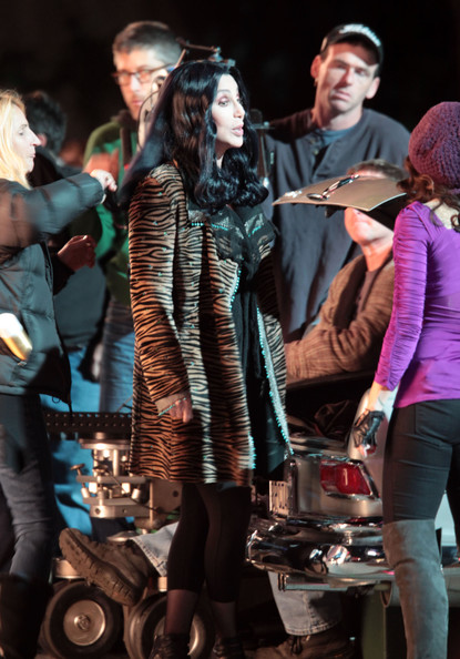 Cher Cher and Kristen Bell film a scene for their new film  'Burlesque' in downtown Los Angeles.