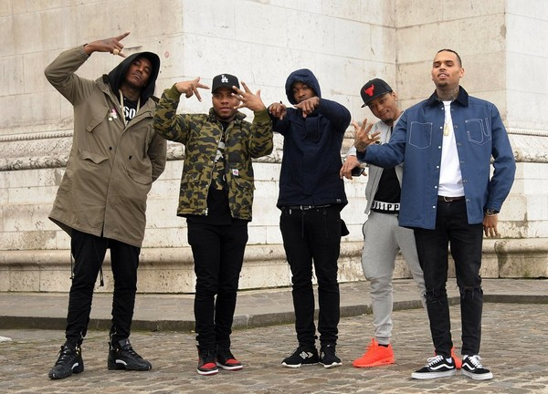 Chris Brown Hangs Out With Friends During Paris Fashion Week