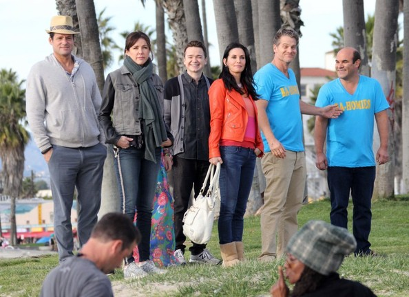 "Cast of ""Cougar Town"" Films in Malibu"