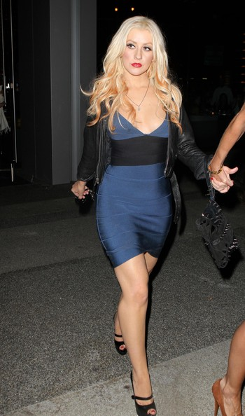 Singer Christina Aguilera seen returning to her car after dinner with friends at BOA Steakhouse in West Hollywood, CA.