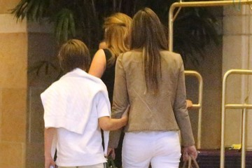 Damian Hurley Elizabeth Hurley and Her Son Arrive in Las Vegas