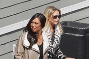 "Exclusive: The dancers of hit TV series ""Dancing with the Stars"" congregated in the parking lot for a chat after a rehearsal at a local studio in Los Angeles, California on February 28, 2012. Pictured: Cheryl Burke with Kym Johnson"