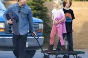 Julia Roberts' husband Daniel Moder and their kids Phinnaeus, Hazel and Henry picking up some plants at a nursery in Malibu, California on December 21, 2013.