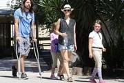 Rocker Dave Grohl, his wife Jordyn Blum and their daughters Violet and Harper spotted out and about in Calabasas, California on August 15, 2015. Dave's leg looks almost completely healed after breaking it falling off a stage in Sweden on June 12th.