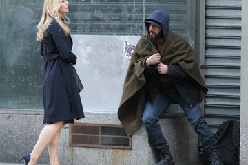 Deborah Ann Woll Jon Bernthal and Costar Deborah Ann Woll Film a Scene for 'The Punisher' in NYC