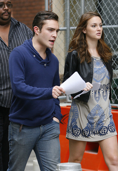 "Ed Westwick and Leighton Meester are seen heading to the set of ""Gossip Girl"" in New York City."
