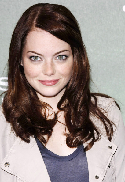 emma stone bangs. emma stone with angs