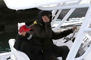 Couple Enrique Iglesias and Anna Kournikova out for a boat ride with their dog in Miami, Florida on January 19, 2014.