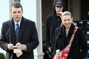 Actors Seth Gabel and Anna Torv walking off the set of 'Fringe' in Vancouver, Canada. Anna was carrying some kind of container in her bag, possibly a deadly virus container prop.