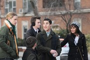 Stars film scenes for the hit TV show 'Glee' at Washington Square Park in New York City, New York on March 14, 2014.<br /> Pictured: Lea Michele, Chris Colfer, Darren Criss, Kevin McHale, Chord Overstreet