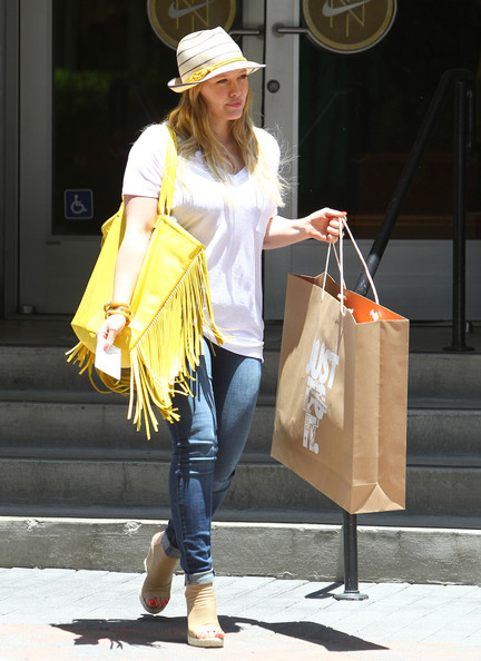 Actress and new mom Hilary Duff was seen leaving the Nike Town in Beverly Hills, California on June 12, 2012.