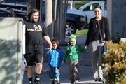 """""""School of Rock"""" star Jack Black and his wife Tanya walk their sons Samuel and Thomas to school in Los Angeles, California on February 20, 2013."""