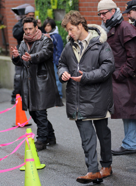 "Actors James Callis and Jamie Bamber film scenes on the set of ""17th Precinct"" in Vancouver."
