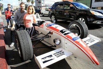 James Hinchcliffe Terra Jole and James Hinchcliffe Pose in Front of a Car in LA