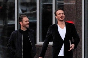 Jason Segel Jason Segel and Charlie McDowell Out in New York City