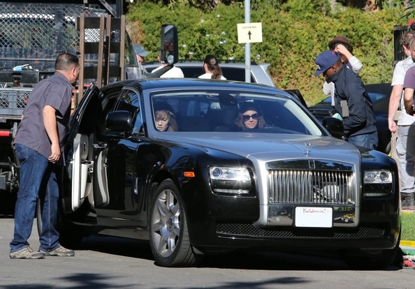 Leah Remini in her Black Rolls Royce with JLo