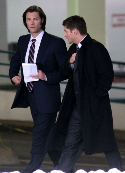 Jared Padalecki And Jensen Ackles Fight The Cold Weather For Their Show