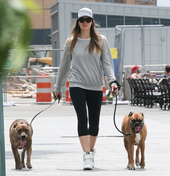 Jessica Biel Walks Her Dogs In NYC Zimbio