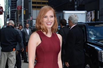 Jessica Chastain The Cast of 'Crimson Peak' Appears on 'The Late Show With Stephen Colbert'