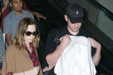 John Krasinski Emily Blunt & Family Arriving On A Flight At LAX