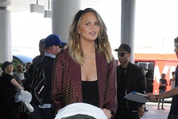 John Legend Luna Stephens Chrissy Teigen and John Legend Depart on a Flight at LAX